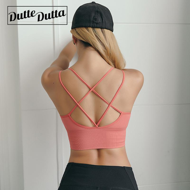 7d8e0a2e89c 2019 Sexy Sports Bra Fitness Running Crop Top Women Sport Yoga Bra Criss  Cross Push Up Active Wear Athletic Racerback Brassiere From Shinyday, ...