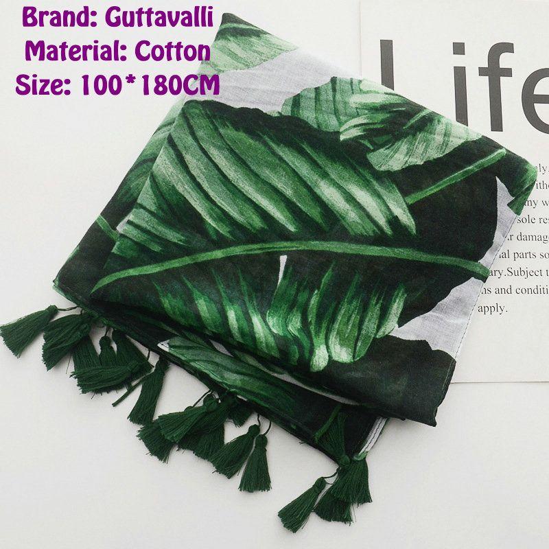 Guttavalli Women Solid Green Palm Leaf Tassels Soft Long Shawl Female Cotton Plants Scarf Bohemia Chevron Fashion Stripe Scarves