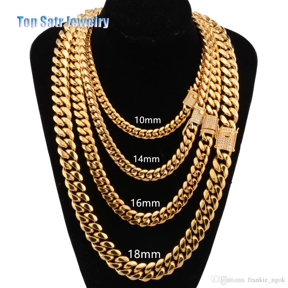 2a411effa9247 8mm/10mm/12mm/14mm/16mm Stainless Steel Jewelry 18K Gold Plated High  Polished & Cubic Zirconia Clasp Miami Cuban Link Necklace Men Chain