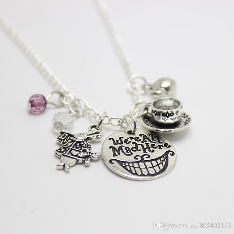 We're All Mad Here Alice in Wonderland Mad Hatter Hand Stamped charm Pendant Cat Smile Gift Fairytale Jewlery