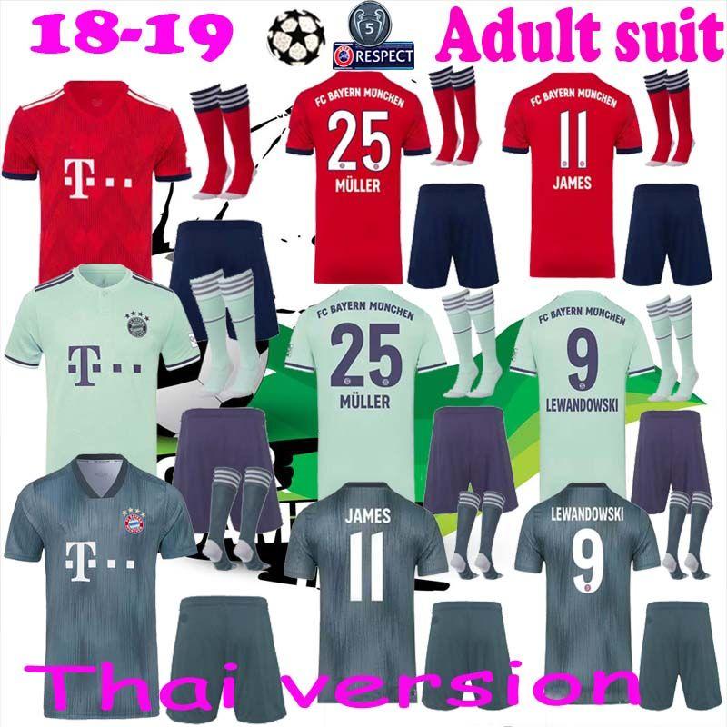 purchase cheap e2d0b fe91e 2018 2019 Bayern Munich FC Soccer Mats Hummels Jersey Set Bundesliga 9  Robert Lewandowski 11 James Rodriguez Football Shirt Kit Uniform