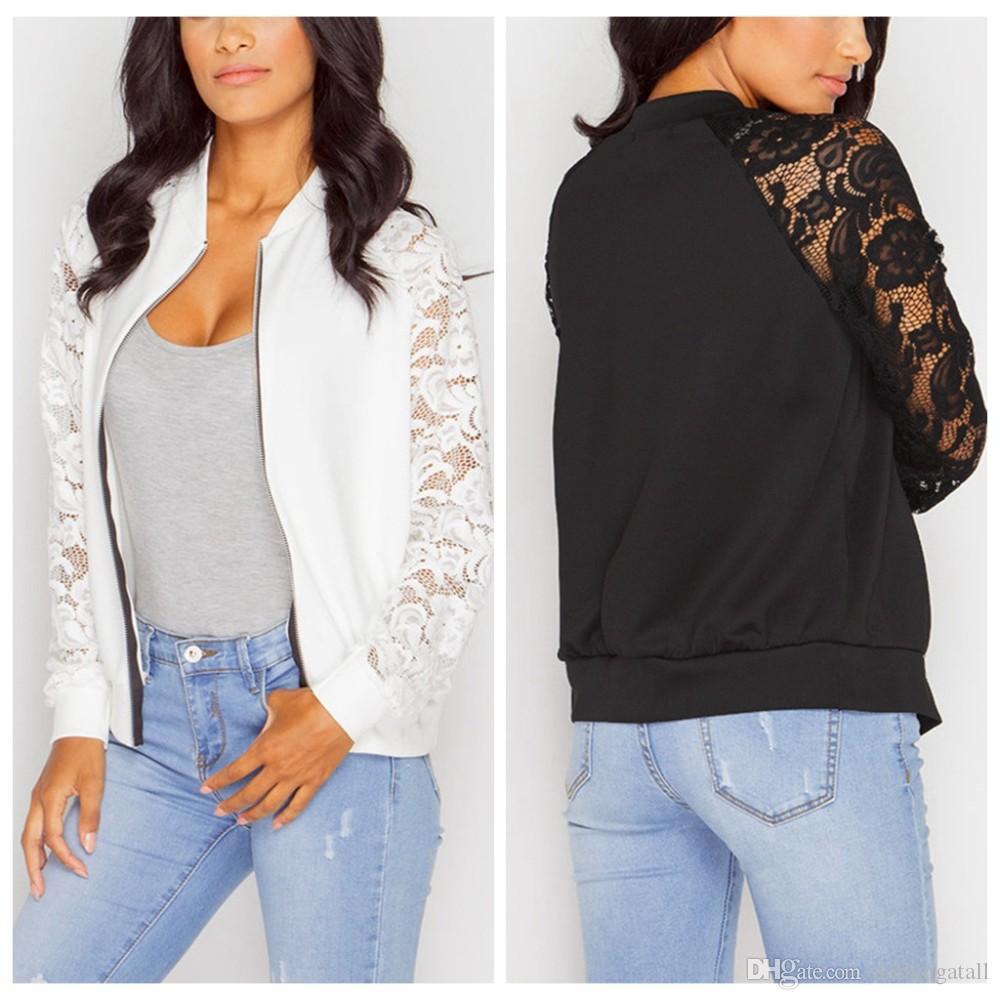 91ec72c2489 Black White Lace Bomber Jacket Women Zipper Basic Coats Fashion Long Sleeve  Causal Short Womens Jackets Plus Size Outdoor Jackets Carhart Jackets From  ...
