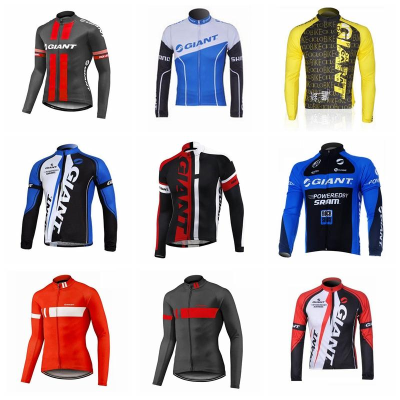 3abe54d62 GIANT Team Cycling Long Sleeves Jersey Wear 2018 Men Autumn The New ...
