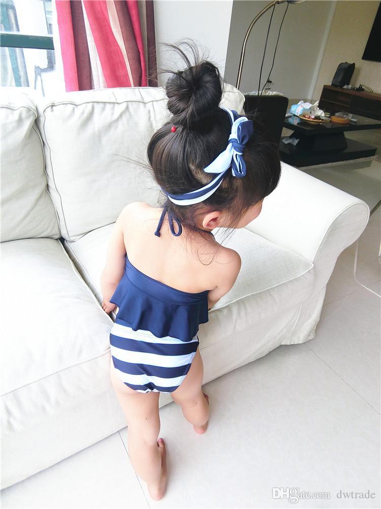 Kızlar Lacivert Şerit Yüksek Bel Iki parçalı Halter Asılı Boyun Kruvaze Mayo Hairbands ile 3 adet setleri Mayo Plaj Mayo