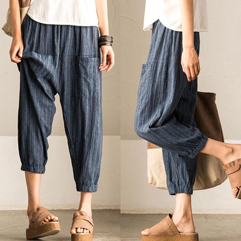 Acheter 2018 Eté ZANZEA Mode Femmes Rayé Pantalon Haute Taille Élastique  Casual Harem Pantalon Long Pantalon Femme Boho Pantalon Plus La Taille De   47.31 Du ... b1fa2ae93c9