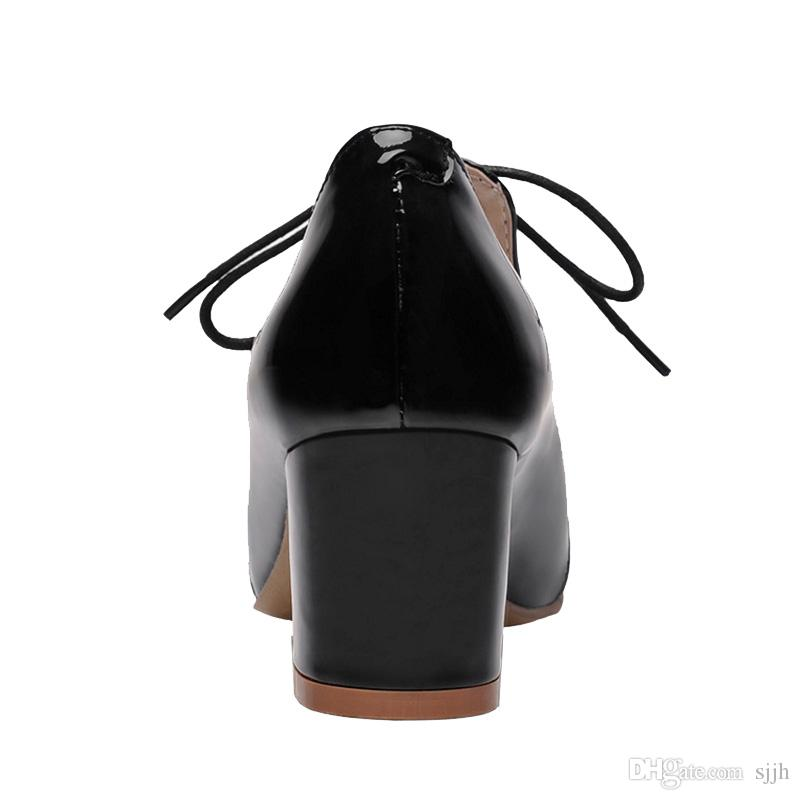 SJJH 2018 Woman Patent Leather Material Pumps with Chunky Heel and Pointed Toe Fashion Casual Chic Shoes with Large Size Available A071