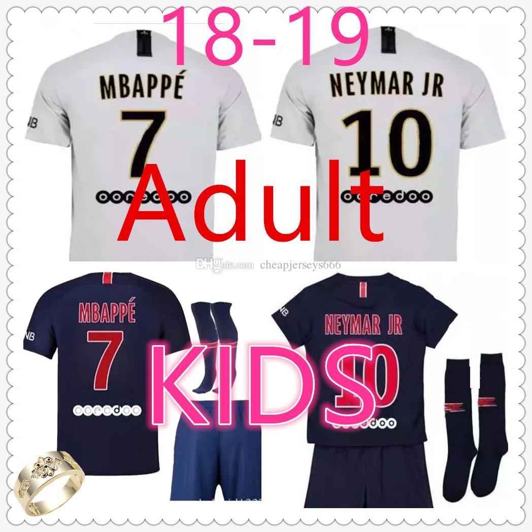 Camiseta Psg Adult Home Away Camiseta De Futbol 2018 19 Paris Saint Germain  Kids Kit Football Jerseys Mbappe Cavani NEYMAR JR PSG Niño Camisetas De  Futbol ... 61beed0a550d7