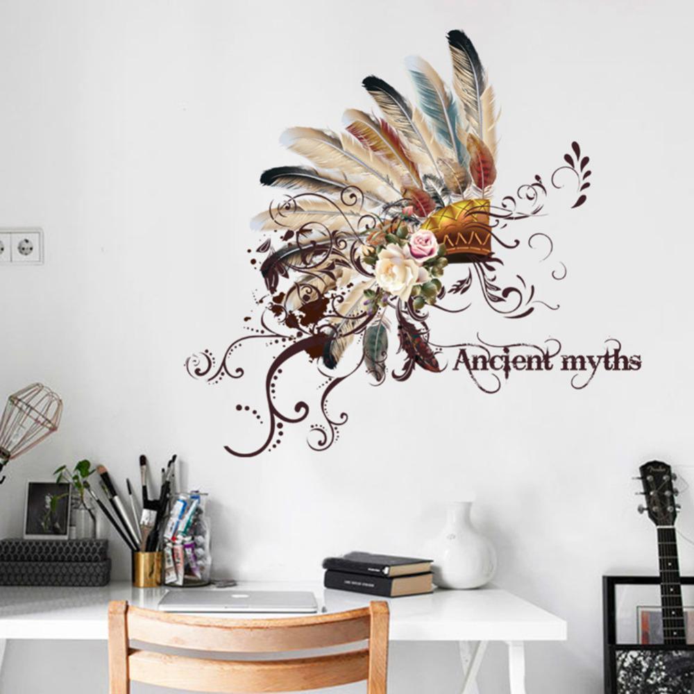 Compre Adesivos De Parede Indianos Criativo Cabe A De Moda Tribal  -> Adesivo Parede Sala Estar