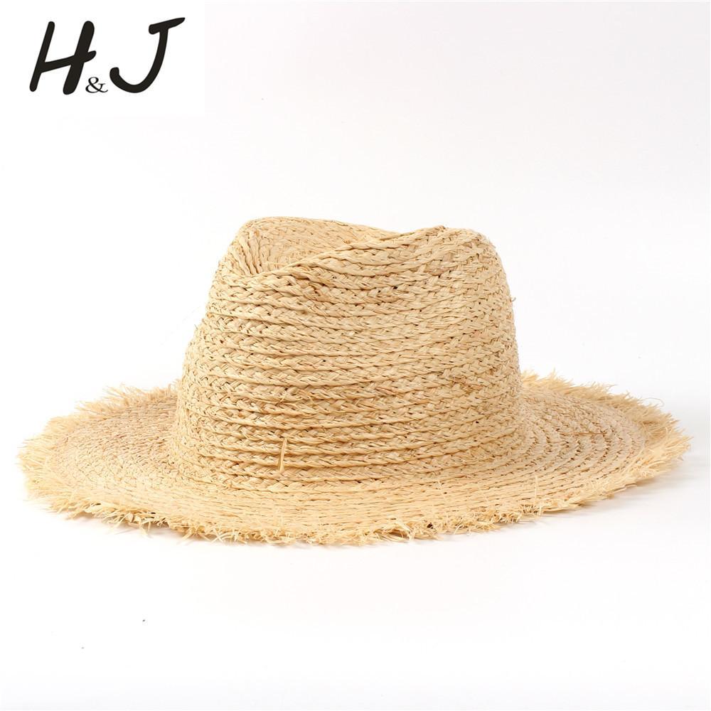 a80b008e 100% Raffia Straw Summer Women Beach Sun Hat With Tassel Floppy Wide ...