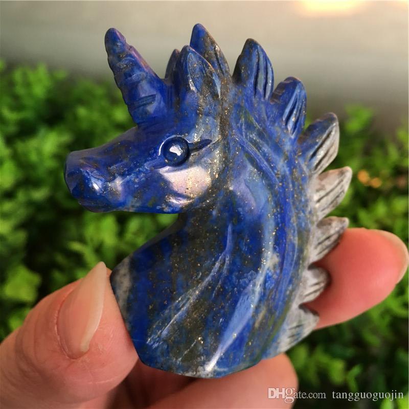 ! 56g The natural blue stone handmade unicorn skull, repair energy sculptured crystal gems