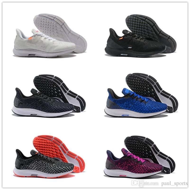 finest selection 81e82 6f1a7 Acheter 2018 Nouveau Zoom Pegasus 35 Chaussures De Course Pour Haute  Qualité 35s Noir Blanc Bleu Rouge Gris Hommes Femmes Mode Sportive Sneakers  Taille 36 ...