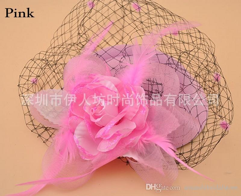 Amandabridal Headpieces Party Hat Bridal Accessories Feather Veil Hair Clip Wedding Birthday Party Costume Fancy Hats For Women