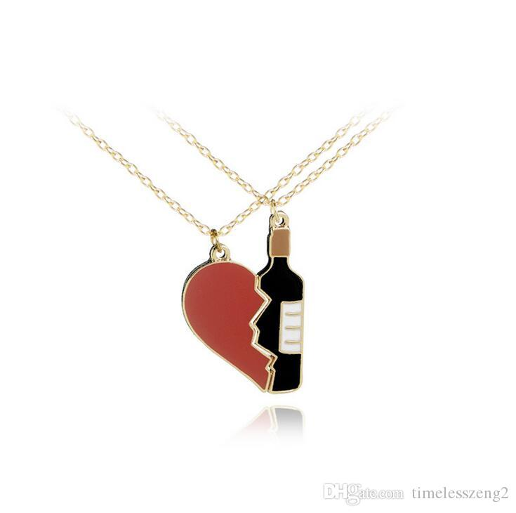0697c873ad6c3 Hot heart with wine bottle necklace lover necklace creative collarbone  chain fashion accessories nice wedding souvenir birthday gift