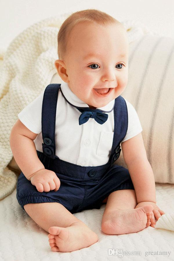 Newborn baby boy outfits Cute cotton T-shirt and overalls set for 0-24M baby T-shirt+short suit infant clothes outfit