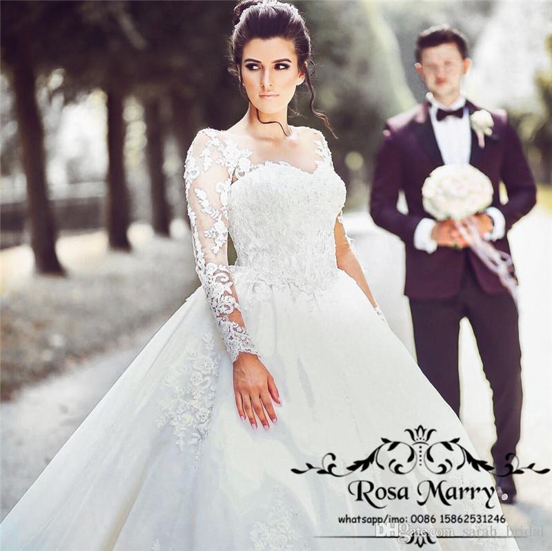 Роскошные империи бальное платье свадебные платья 2020 иллюзия старинные кружева аппликации с длинными рукавами плюс размер дешевые мусульманские арабские страны свадебные платья
