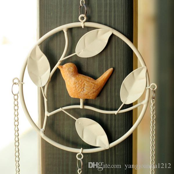 Wholesale Iron Bird Wind Chimes With Metal Bell For Cafes Shops Garden Outside Wall Decoration American Village