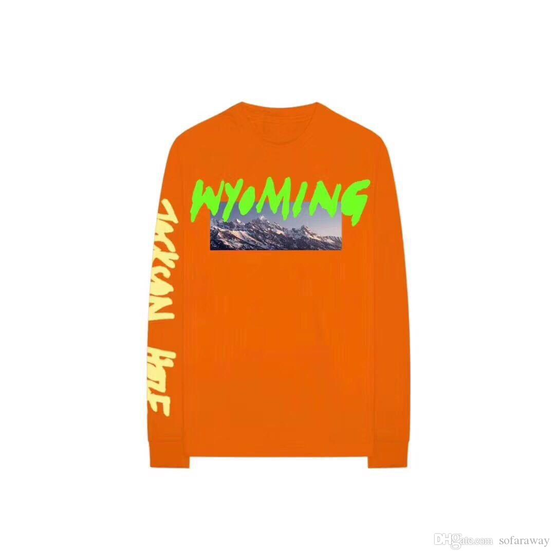 Mens Clothing Kanye West Wyoming Ye Album Letters Printed T Shirt Long Sleeve Tees Male Casual Pullover Tops Free Shipping