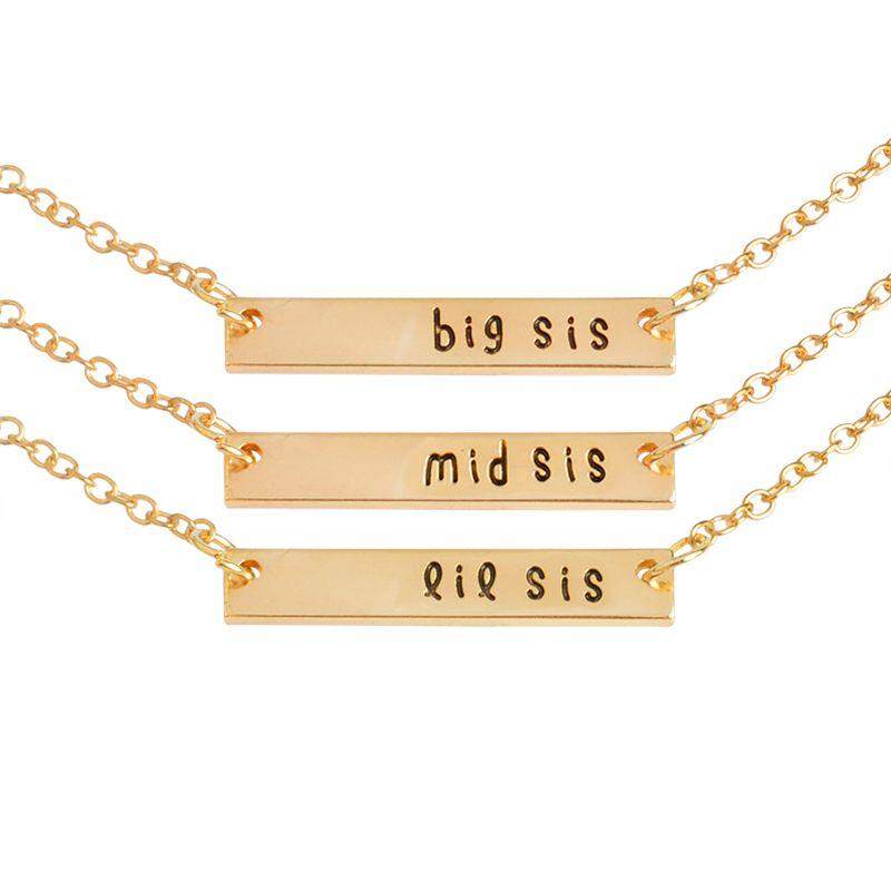 3 unids / set big sis mid sis lil sis Tag Colgante Collar BFF Cadena Simple Regalo Especial Para La Madre Hija Familia Amigos joyería