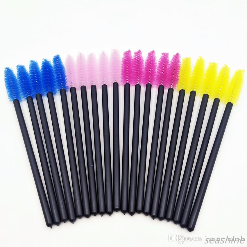 50 adet / paket Özel Logo Tek Mikro Kirpik Fırçalar Maskara Wands Aplikatör Değnek Fırça Kirpik Tarak Fırçalar Makaralar Makyaj Aracı Kiti