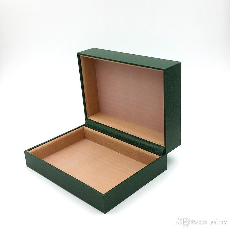 Nuevo estilo Marca de lujo Cajas de reloj verde Papeles de caja de madera Originales Relojes de regalo Cajas Bolsa de piel Tarjeta para Rolex 116660 116600 Caja de reloj.