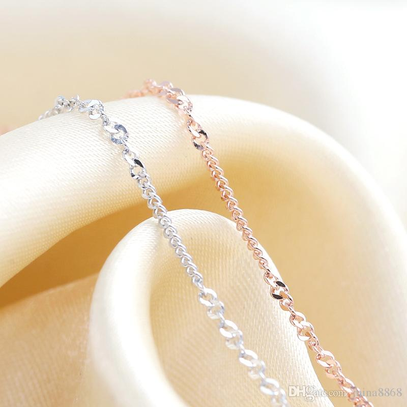 Real 925 Sterling Silver Figaro Chains Necklace for Women Kids Girls Jewelry Colier 16/18 inch wholesale