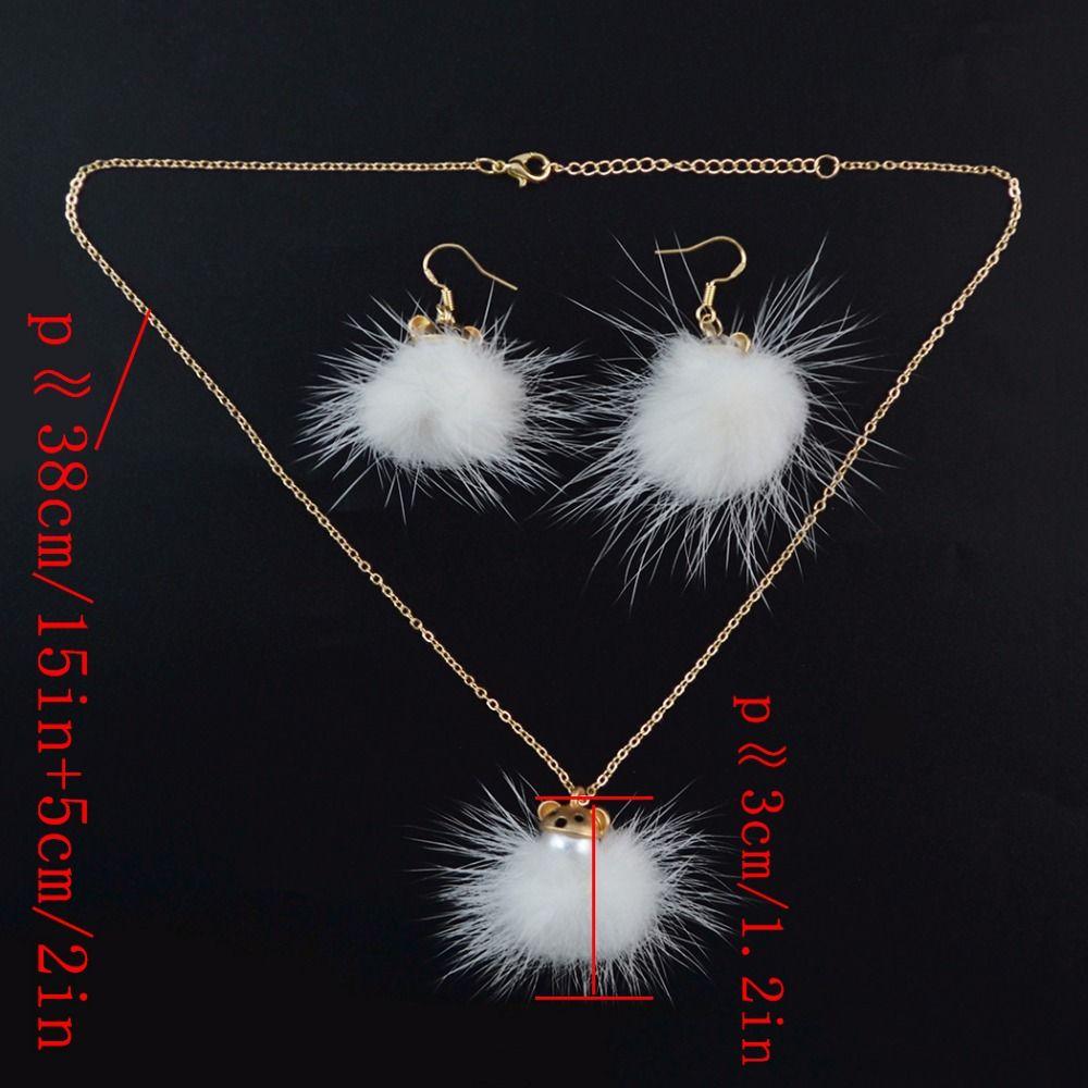 Idealway Nette Silber Gold Metall Weiß Fellknäuel Winter Aussage Ohrringe Halsketten Sets für Frauen Mädchen Party Zubehör
