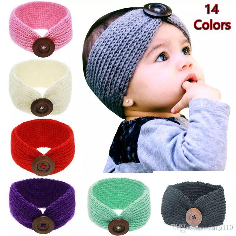 Qualität und Quantität zugesichert offizieller Verkauf weltweit bekannt Neue Baby Mädchen Mode Wolle Häkeln Stirnband Stricken Haarband Mit Knopf  Dekor Winter Neugeborenen Ohrwärmer Kopf Headwrap 13 Farben