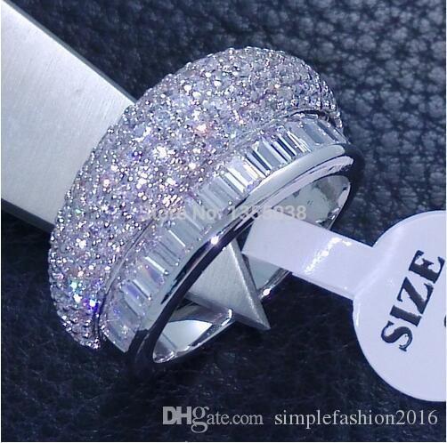 Monili di modo pieno Claw set Gioielli Gem 5A Zircone pietra 10KT White Gold Filled Wedding Band Anello Sz 6/7/8 Spedizione gratuita