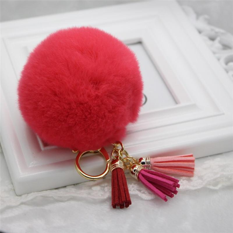 Yeni bayan araba anahtarlık çok renkli kürk kolye sevimli 8 CM Rex tavşan saç topu püskül anahtarlık K1098