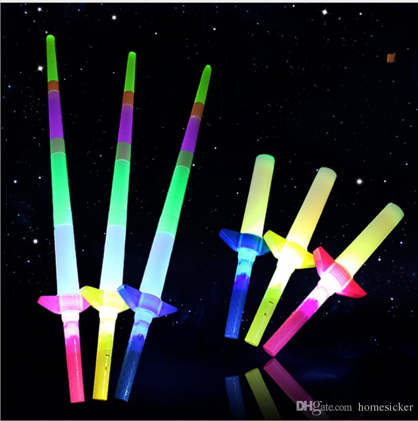 Telescopic LED Glow Stick Flash LED Light Stick Fluorescent Sword Luminous Sticks LED Cheer Props Festivals Christmas Carnival Concerts Toys