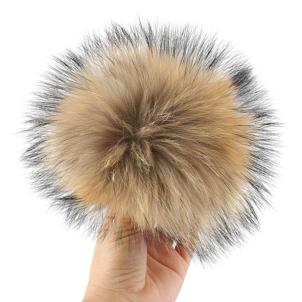 11 Colors16cm Real Raccoon Fur Pompom Natural Multicolor Ball Beanie Caps Winter Women Men Kids Fluffy Soft Pom Pom