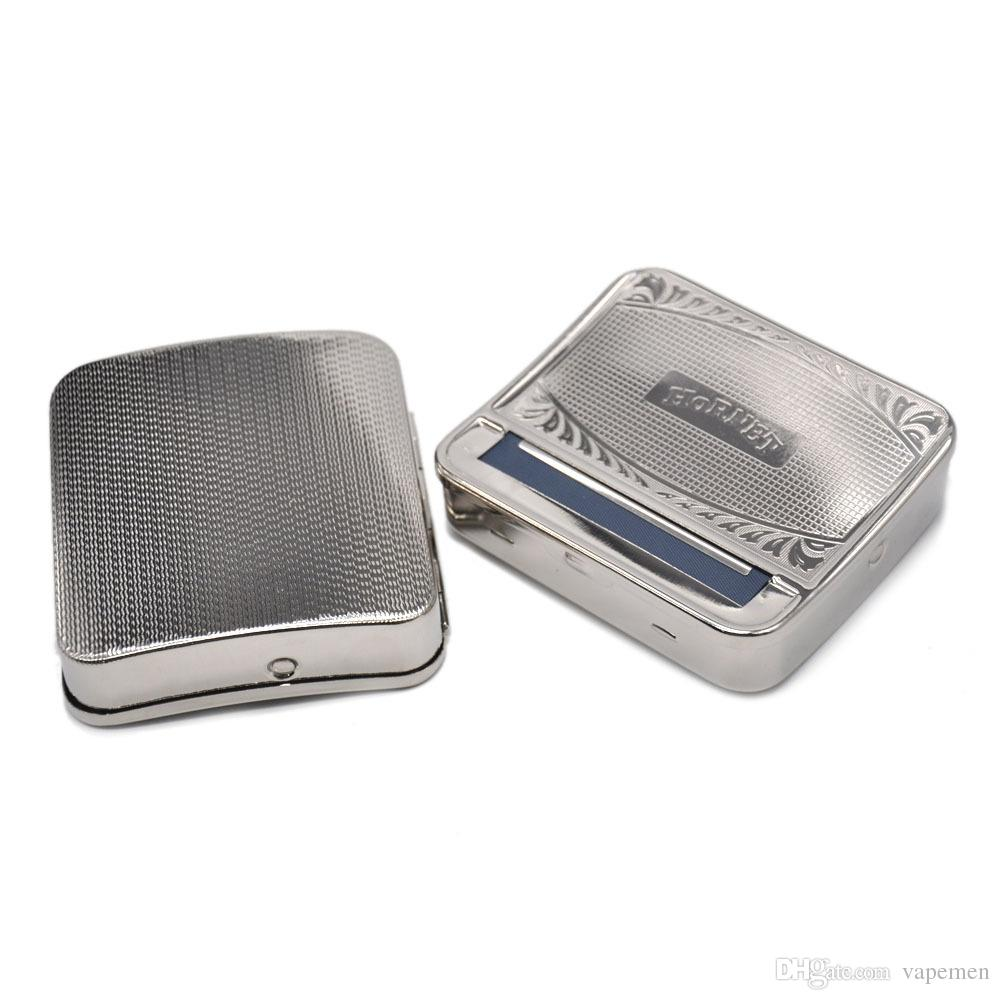 New Style Metal Tobacco Roller Cigarette Making Maker Rolling Machine Cigarette Box Free Shippin Silver Colors OEM LOGO