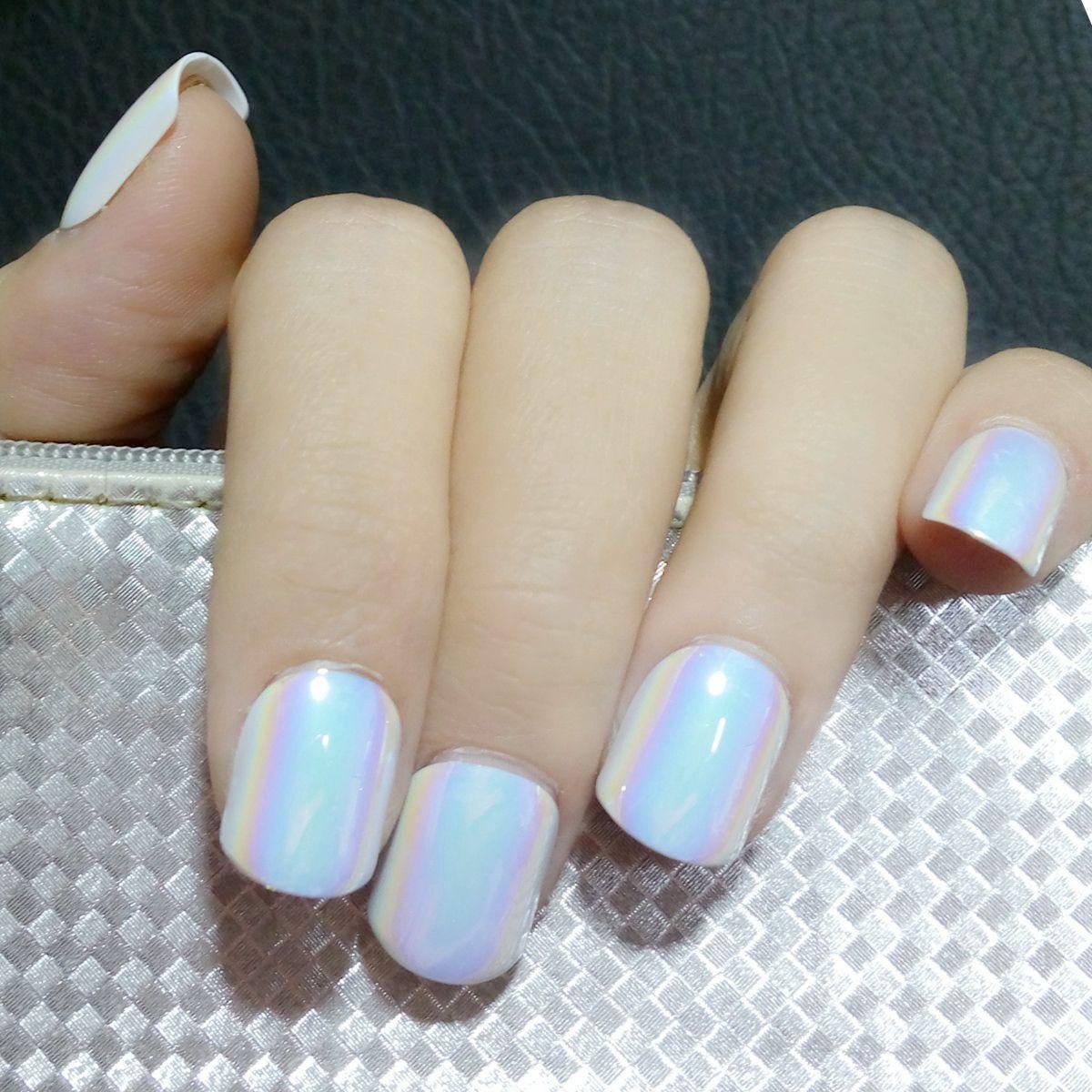 Holographic Blue White False Nails Chameleon Mirror Short Fake Nails ...