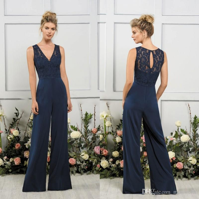 2018 Jasmine Jumpsuits Bridesmaids Dresses V Neck Dark Navy Maid Of