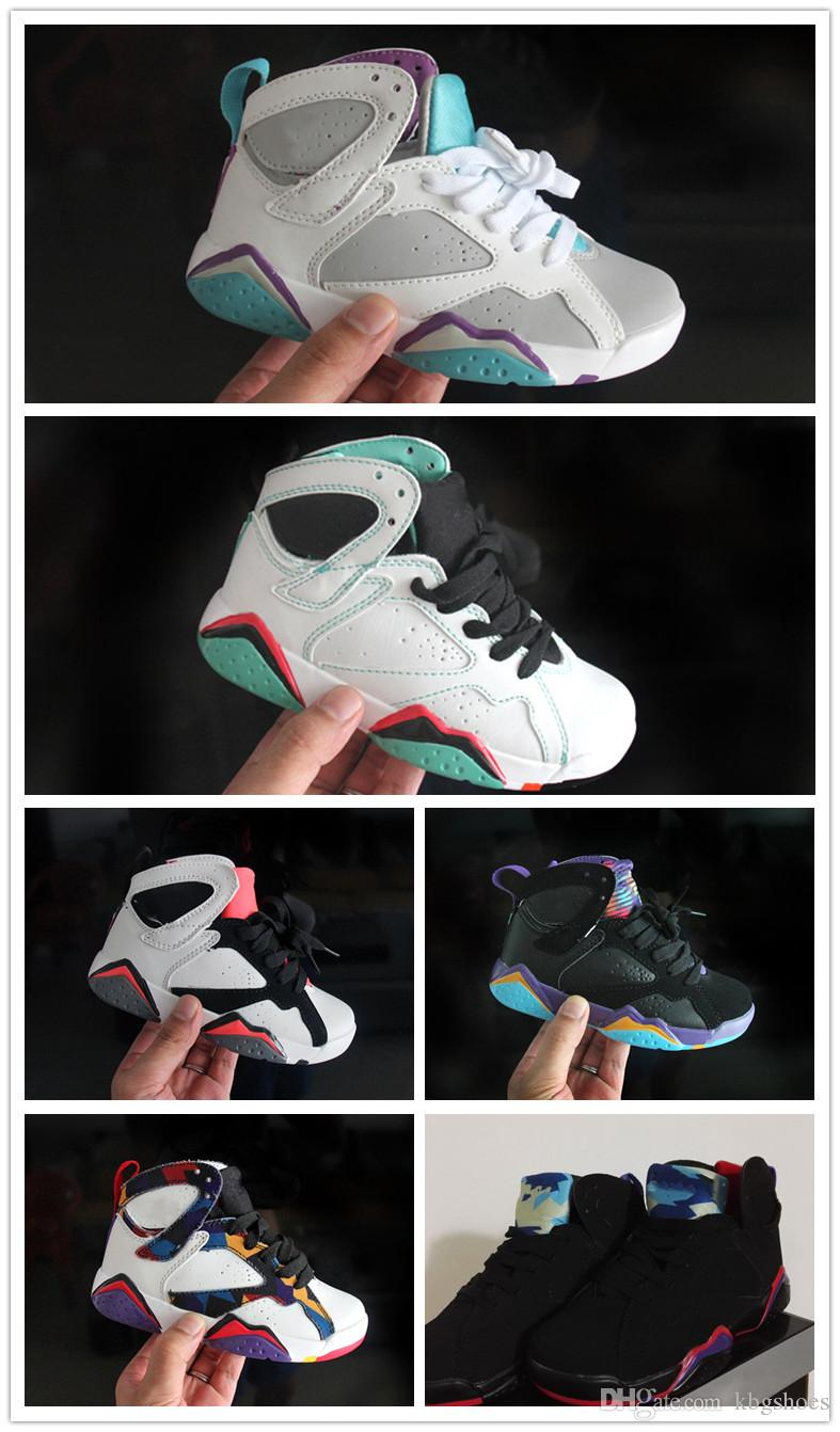 reputable site 4efe6 8ce0d Acheter Nike Air Jordan Aj7 Pas Cher Bébé Enfants 7 Chaussures De Basket  Ball Jeunesse Garçon Fille 7 S VII Violet UNC Bordeaux Olympique Panton N7  Zapatos ...