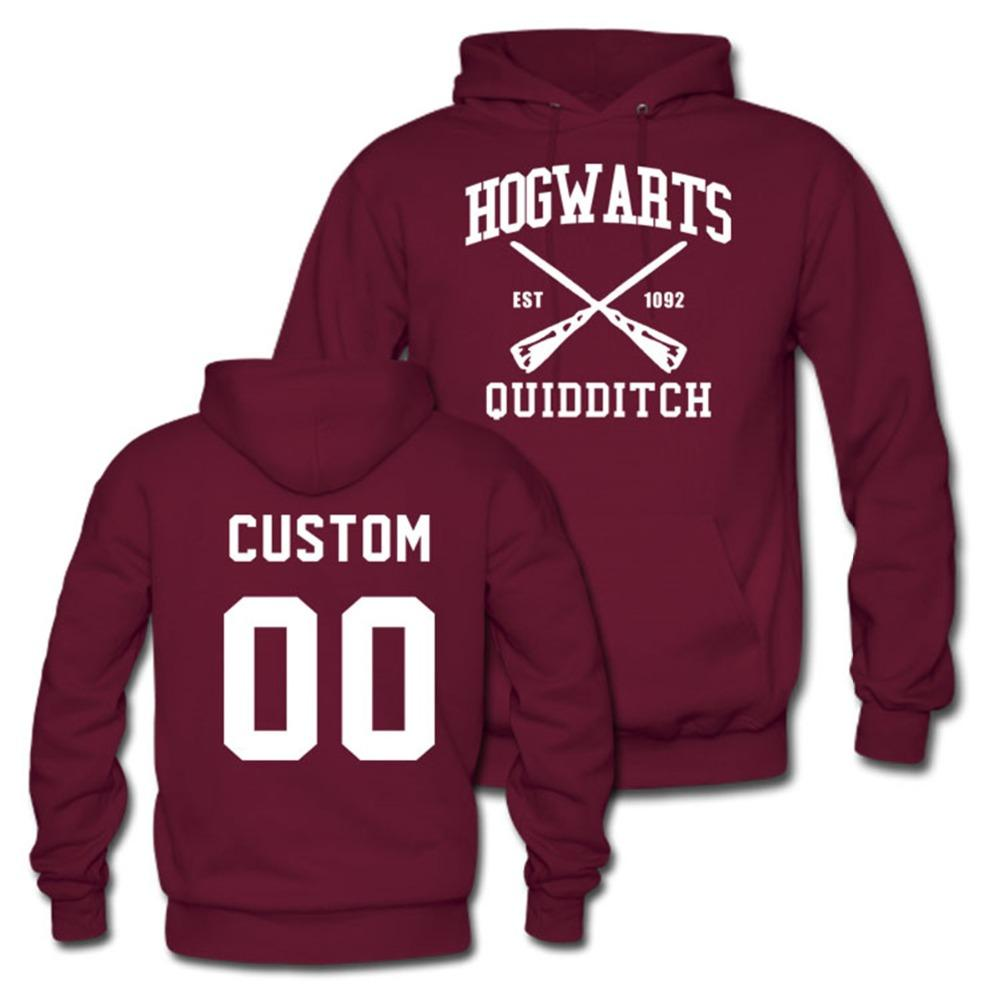 2d7afba2db67 2019 Hogwarts Quidditch Team Hoodie Custom Name Numbers Womens Mens  Persionalized Sweatshirts Plus Size S 3XL From Edward03