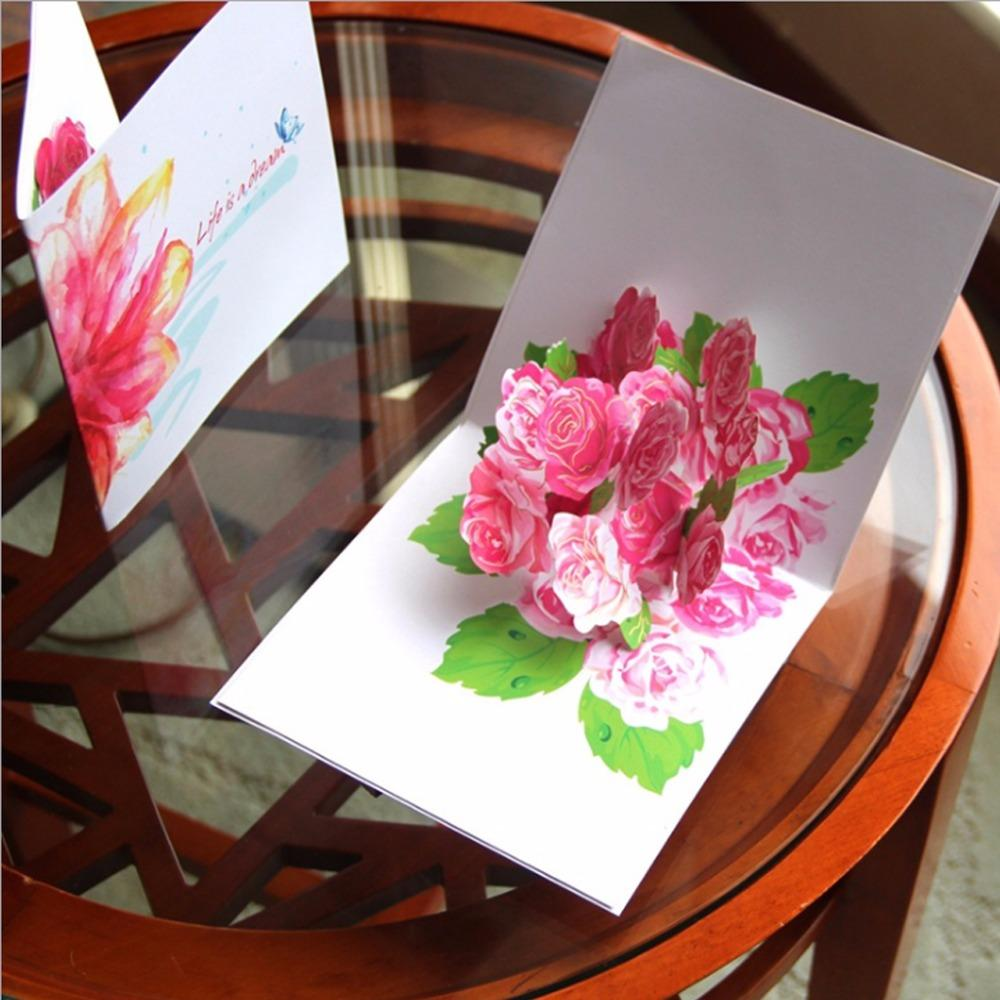 3d Pop Up Flowers Greeting Card Christmas Birthday New Year