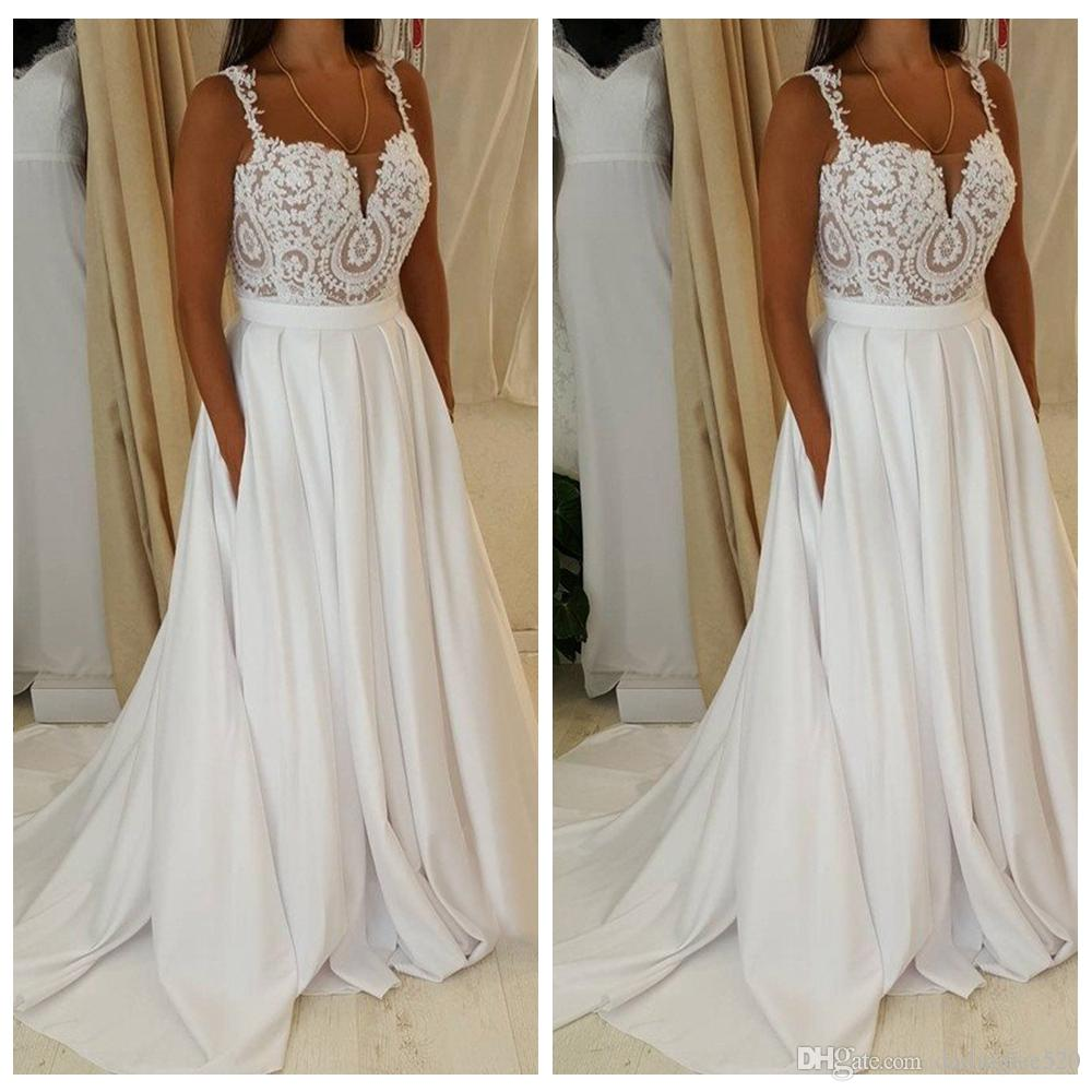 Cheap Vintage Style Winter Wedding Dresses Discount Simple Elegant for Garden  Wedding Dresses 7a81271e184c