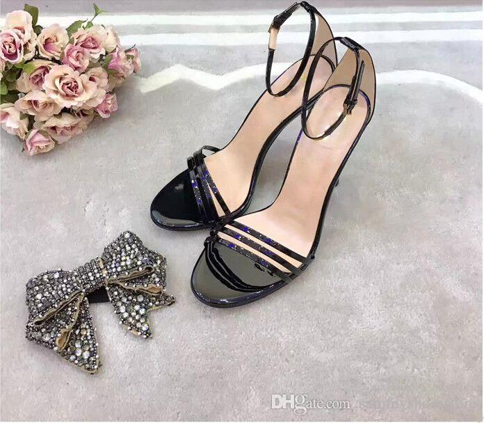 Gold Black Pink Crystal Butterfly-Knot High Heels Rhinestone Open Toe Women Summer Sandals Buckle Strap Party Wedding Pumps