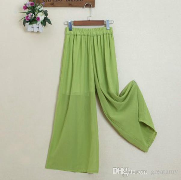 Women's long wide leg pants solid chiffon skirt pants fashion skorts culottes harem pants loose high elastic waist trousers