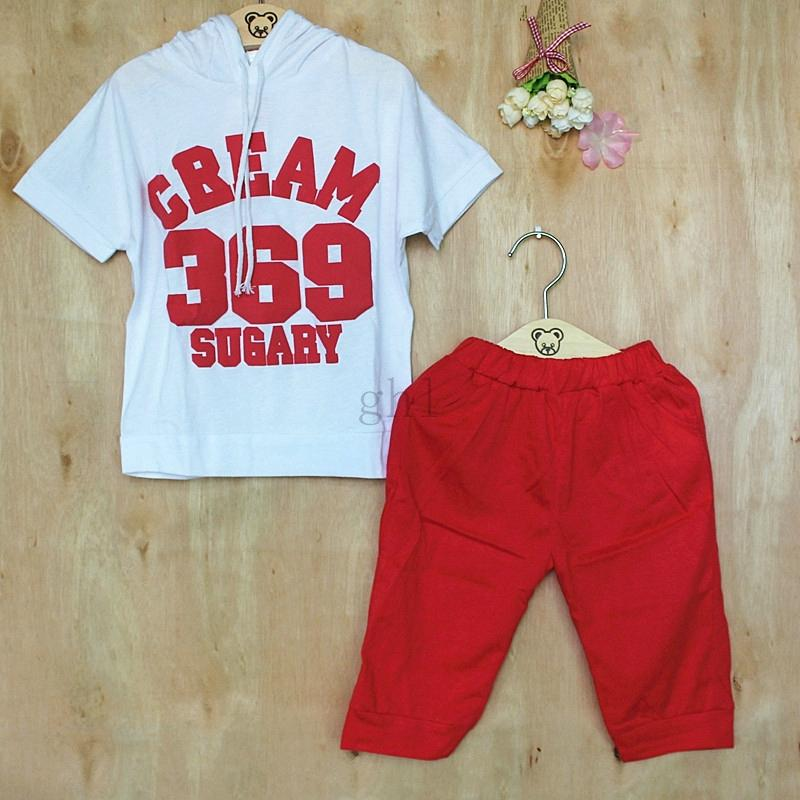 Hot New 2016 Summer Girls Boys cream 369 Children Clothing Set Baby Clothes Baby Sport Suits Short-Sleeve T-shirt hoodies+pant