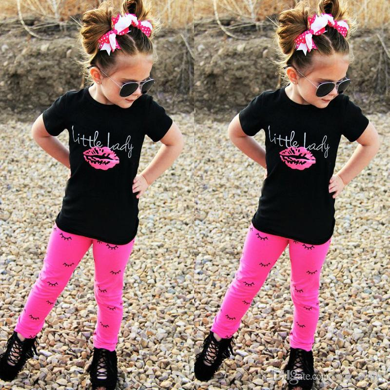9a31d4cd2781 INS Hot Selling Children Summer New Designs Girl Clothes Sets Little Lady  Lip T-shirt + Full Eyelash Print Pants Two Piece Sets Outfits 324 Girls Sets  ...