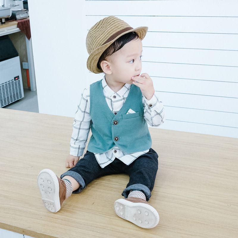6895e95039f2 Baby Boy Clothing Sets Plaid Print Shirt + Vest +pants Boy Casual ...