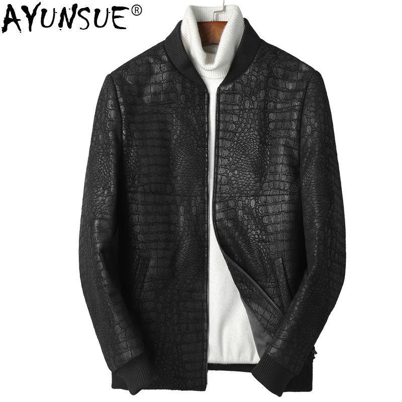 03557772267 AYUNSUE Genuine Sheepskin Leather Jacket Men 2018 Short Down Jacket  Baseball Korean Leather Coat Chaqueta Cuero Hombre KJ1255 Genuine Leather  Coats Cheap ...