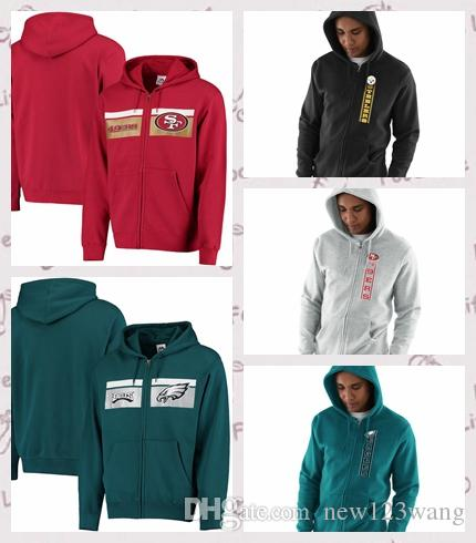 new products fa78d 0dd73 San Francisco 49ers Philadelphia Eagles Pittsburgh Steelers Majestic  Touchback Full-Zip Hoodie Scarlet AND Heathered Gray OR Green