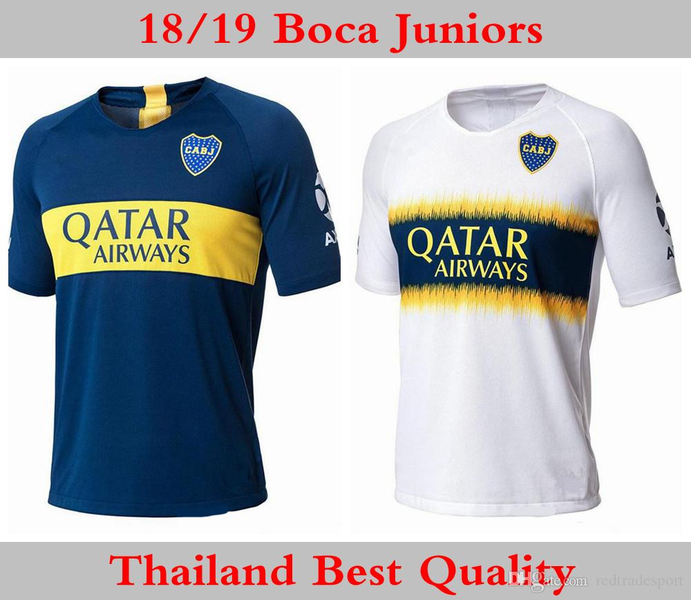 9a66bf7ff 2019 2018 2019 Boca Juniors Soccer Jersey Mens 8 Perez 5 Gago TEVEZ 10  Carlitos 9 Benedetto 7 Pavon Castellani Custom 18 19 Football Shirt From ...