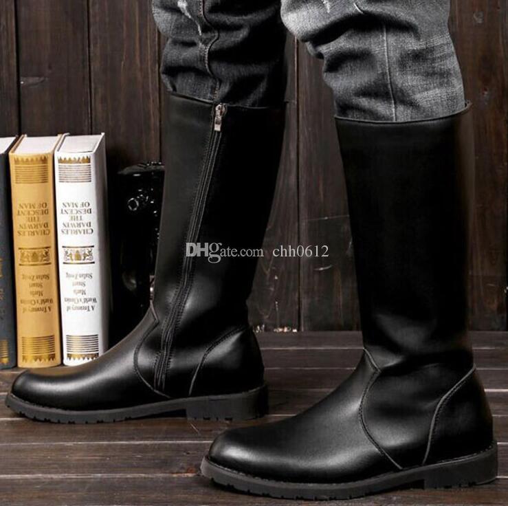 Plush Bottes 45 Hommes Mi Équitation Avec À Hombre D'hiver Botas Chaussures Plus Acheter Chaud 22 Fourrure De43 Mollet Zip JT1F3lKc
