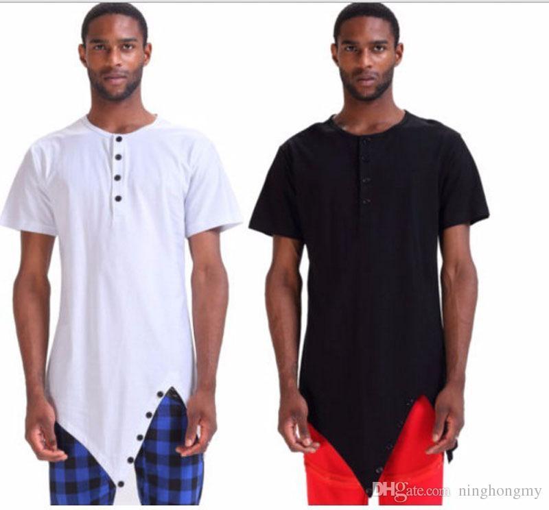 Maglietta da uomo Camicia da uomo a maniche lunghe da uomo Estate Nuovo Abbigliamento casual Maglietta lunga irregolare Orlo Tops Maglieria Hip Hop