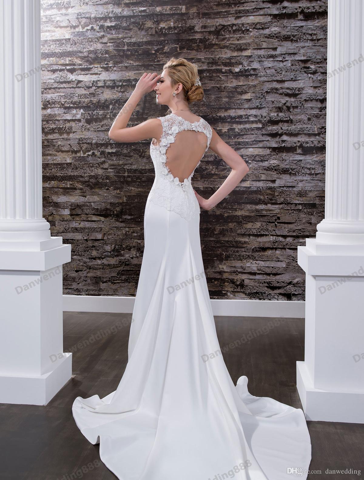 Grazia bianco raso con scollo a V sirena abiti da sposa abiti da sposa da sposa abiti da sposa abiti da sposa abiti personalizzati taglia 2-16 zw612178
