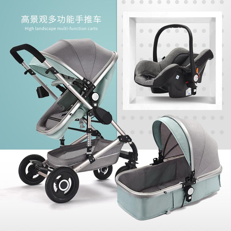 2019 Luxury Baby Stroller 3 In 1 High Landscape Baby Carriages For